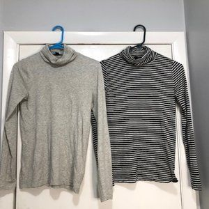 2 J.Crew Longsleeve Tissue Turtleneck Shirts